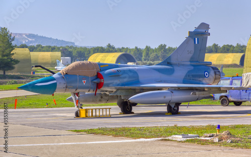 A HAF Mirage 2000-5EG parked on the runway of Tanagra airport
