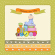new baby announcement card with toy train