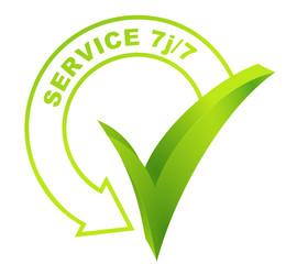 service 7 jours sur 7  sur symbole validé vert