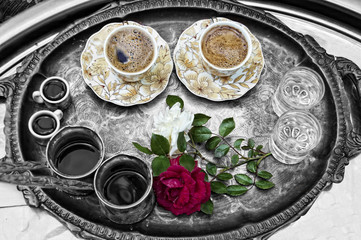 Turkish Coffee and Red Rose