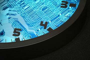 clock and circuit board as the background
