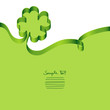 Green Ribbon Clover-Leaf & Swirl Background