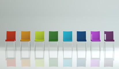 Wohndesign - bunte Stühle