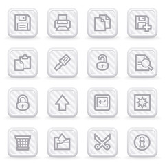 Document web icons on gray buttons, set 1.