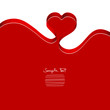 Red Heart-Ribbon Vector Background