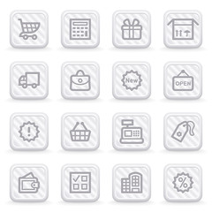Shopping icons on gray buttons.