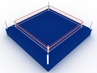 Blue boxing ring on a white background №1