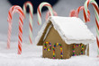 Christmas Gingerbread House Closeup