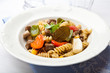 Pasta with beef, pepper and mushrooms (Goulash)