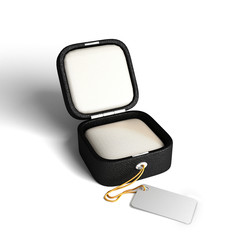 Opened empty Jewelry gift box with tag and work path
