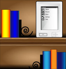 Bookcase with colorful books and ereader