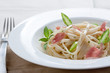 Tagliatelle with asparagus, ham and fresh basil
