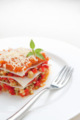 Vegetable lasagna, tomato and cheese