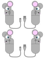 Surprised Cartoon Computer Mouse Set 1