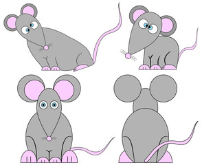 Set of Cute Crazy Cartoon Mice