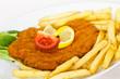 Paniertes Wiener Schnitzel,Pommes Frites