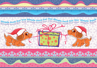 Vector illustration of two puppies. Unleashing a Christmas gift.