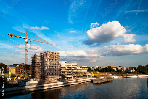 Construction site on the bank of the river
