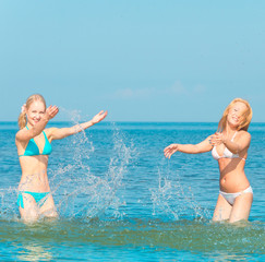 In Bikini In Water Girls