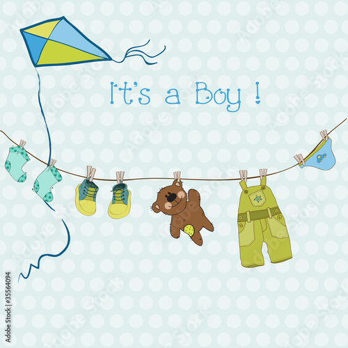 Baby Boy Shower or Arrival Card with place for your text in vect