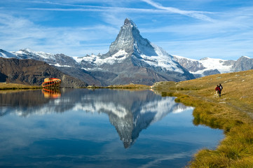 Zermatt-Stellisee lake-Cervino