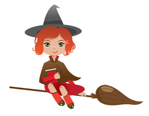 redheaded witch with a magicbook flying on her broom