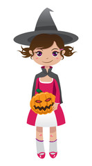 Brunette witch with pumpkin in the hands