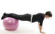 senior woman fitness exercise push ups with core training ball