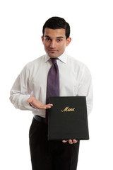 Business restaurant owner presenting a menu