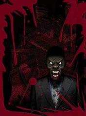 Vampire businessman feeding blood red poster