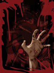 Zombie hand blood red poster