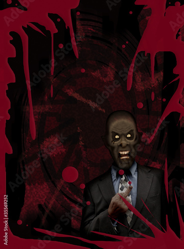 Zombie businessman with attitude blood red poster