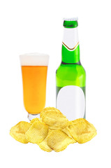 Beer bottle and glass of fresh beer and chips isolated on white