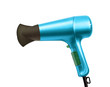 blue color hair dryer isolated on white background