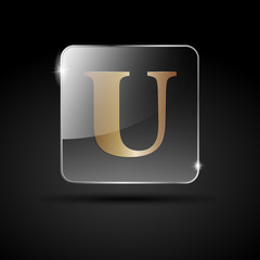 Logo golden letter U # Vector