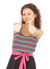 portrait of young woman with thumbs up