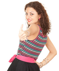 portrait of young woman with thumb up