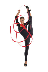 young woman with ribbon makes vertical string