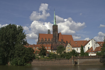Twin towers of the cathedral in Wroclaw, Poland