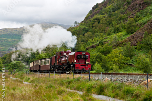 Steam train in Snowdonia, Wales