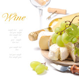 Fototapety White wine with French cheese selection