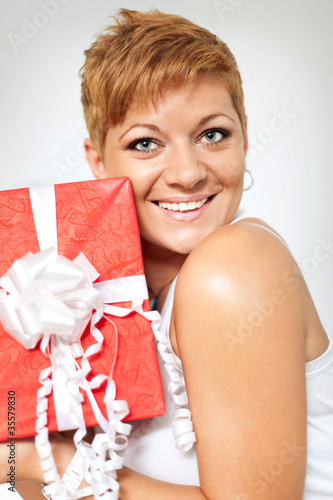 happy girl with present