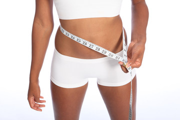 African american woman checking diet weight loss