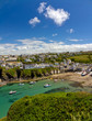 Harbour of Port Isaac with blue skies, Cornwall, England
