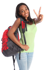 Beautiful black teenager school girl victory sign