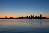 Seattle Washington Waterfront Skyline at Sunrise Panorama