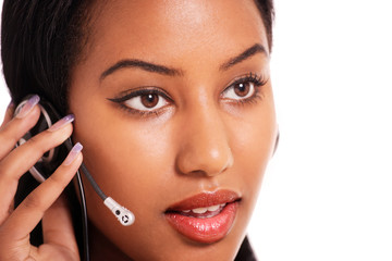 Pretty receptionist in conversation on headset
