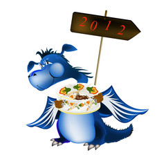 Dark blue dragon a symbol of new 2012 on east calendar
