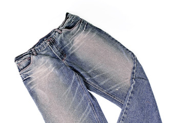 Bllue denim jeans in white background