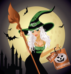 Halloween shopping witch, vector illustration